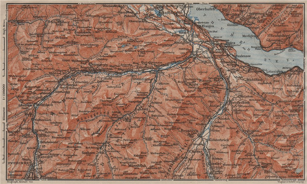 Associate Product THUNER SEE. SIMME/KANDER VALLEYS. Gantrisch Spiez Frutigen Oberwil 1911 map