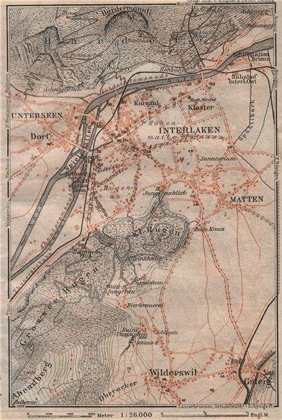Associate Product INTERLAKEN ENVIRONS. Unterseen Matten Aarmuhle Wilderswyl. Schweiz 1911 map