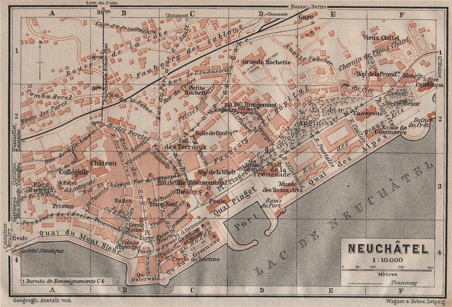 Associate Product NEUCHÂTEL / NEUENBURG. town city plan. Switzerland Suisse Schweiz 1911 old map