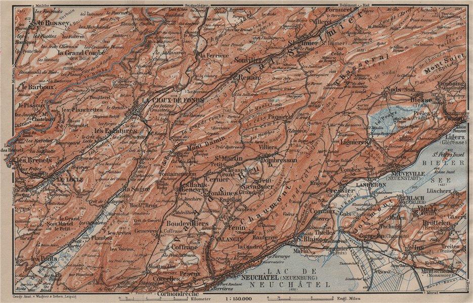 NORTH WEST JURA. Neuchâtel La Chaux de Fonds Neuveville. Topo-map 1911 old