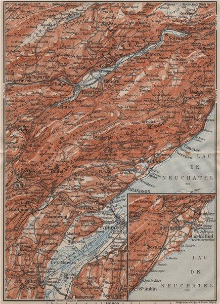 Associate Product JURA. Val-de-Travers Orbe Noiraigue Yverdon Grandson Môtiers Buttes 1911 map