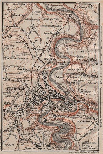 FRIBOURG / FREIBURG ENVIRONS. Switzerland Suisse Schweiz carte karte 1911 map