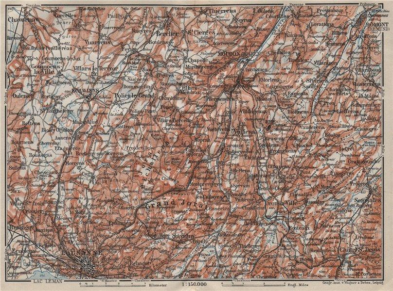 PAYS DE VAUD North. Lausanne Moudon Romont Jorat Moudon Echallens 1911 old map