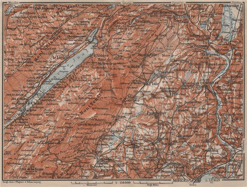 Associate Product WESTERN JURA. Morges Cossonay Vaulion Mont Risoux/Tendre Lac de Joux 1911 map