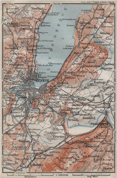 Associate Product GENEVA GENÈVE GENF ENVIRONS. Switzerland Suisse Schweiz carte karte 1911 map