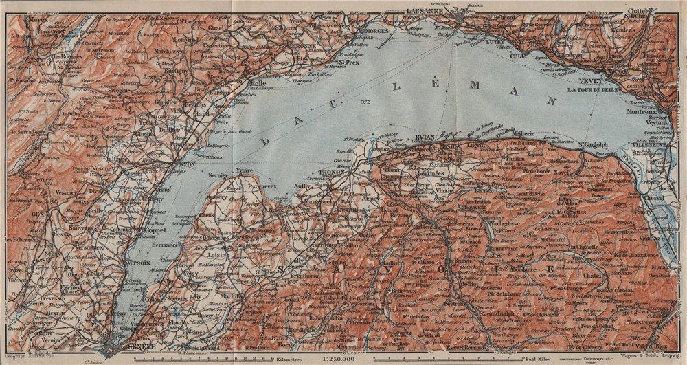 LAKE GENEVA/LAC LÉMAN. St Cergue Chatel St Jean d'Aulph Lausanne Evian 1911 map