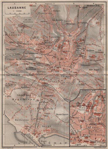 Associate Product LAUSANNE. town city stadtplan. Switzerland Suisse Schweiz carte karte 1911 map
