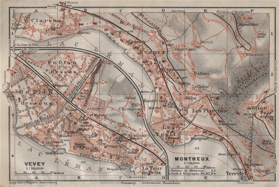 Associate Product MONTREUX. VEVEY. Clarens. town city plan. Switzerland Suisse Schweiz 1911 map