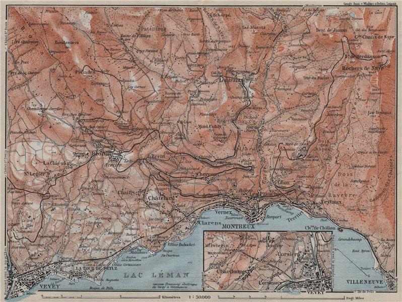 Associate Product MONTREAUX AREA. Vevey Villneuve. Topo-map. Switzerland Suisse Schweiz 1911