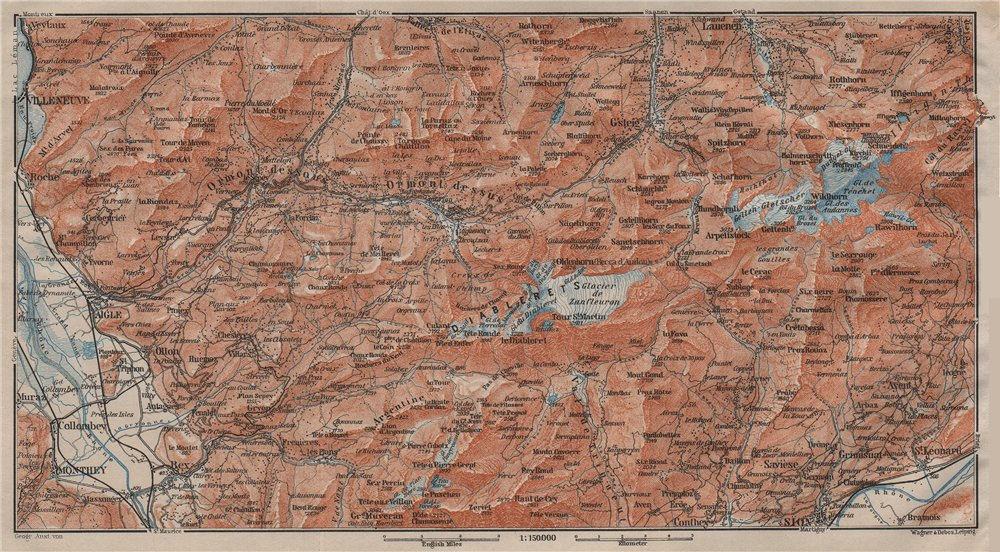Associate Product AIGLE DISTRICT.Les Diablerets Villars Gryon Leysin Les Mosses Ormont 1911 map