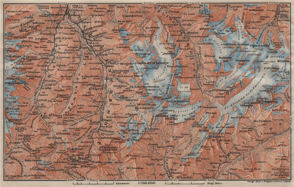 Associate Product GRAND ST BERNARD ENVIRONS Arolla Grand Combin Massif Orsières Mt Velan 1911 map