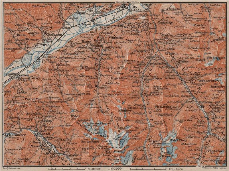 Associate Product Area south of SION. Verbier Riddes Nendaz Veysonnaz Hérens Entremont 1911 map