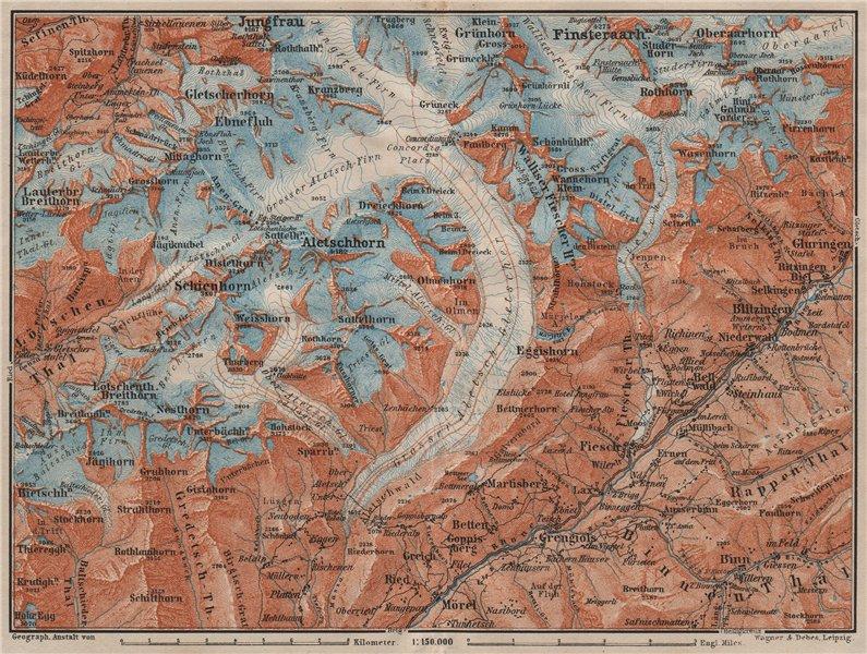 Associate Product ALETSCHHORN DISTRICT. Fiesch Mörel Jungfrau Nesthorn Grengiols 1911 old map