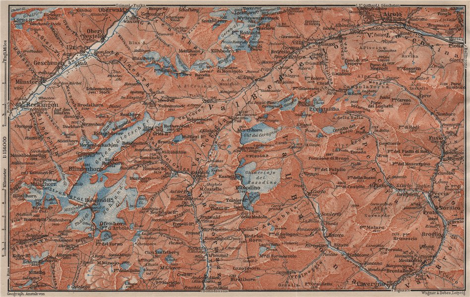 Associate Product GRIES PASS & NW TICINO ALPS. Val Bedretto Airolo Basodino Ofenhorn 1911 map