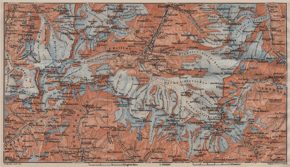 ZERMATT ENVIRONS. Breuil-Cervinia Matterhorn Tournanche Monte Rosa 1911 map