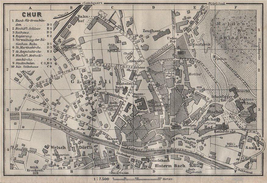 Associate Product COIRE / CHUR. Chur. town city stadtplan. Switzerland Suisse Schweiz 1911 map