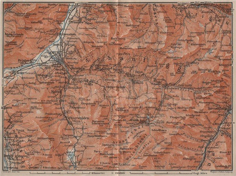 Associate Product COIRE/CHUR SCHANFIGG AROSA ENVIRONS. Davos Klosters Lenzheide Trimnns 1911 map