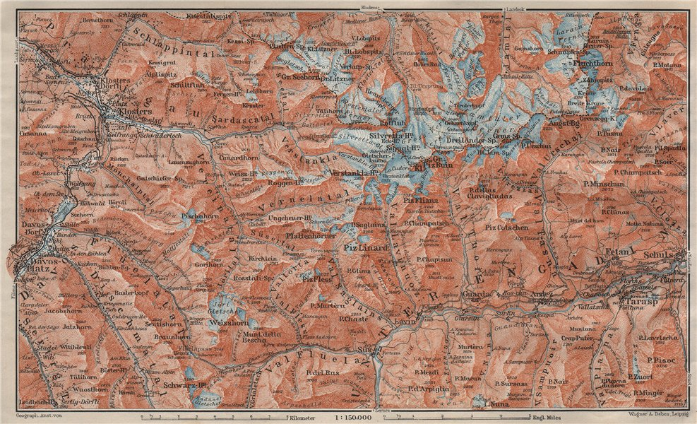 Associate Product SILVRETTA GROUP. Klosters Davos Ftan Scuol Fluchthorn Lower Engadin 1911 map