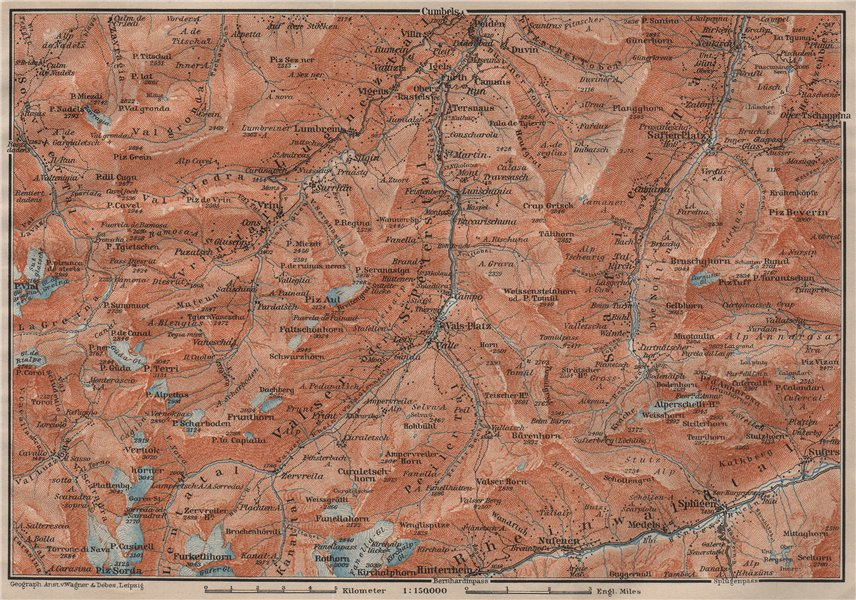 Associate Product LUGNETZTAL SURSELVA. Valserrhein Furketlihorn Hinterrhein Splügen 1911 old map