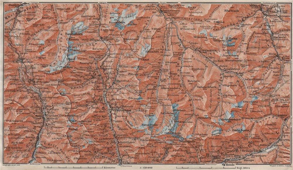 Associate Product SPLÜGEN-BONDO. Madesimo San Bernardino Mesocco Tambohorn Surettahorn 1911 map