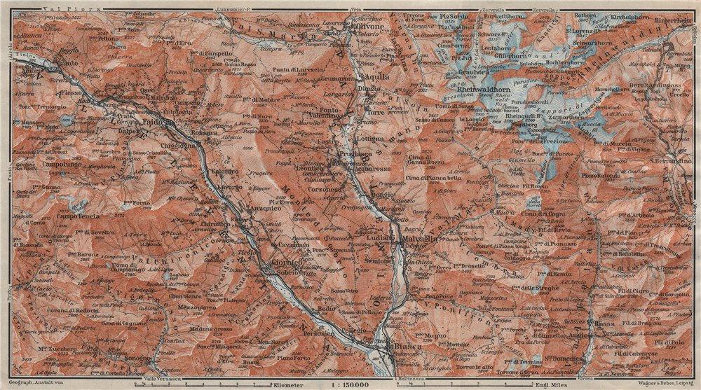Associate Product MONTE DI SOBRIO LEVENTINA BLENIO TICINO. San Bernardino Olivone Faido 1911 map