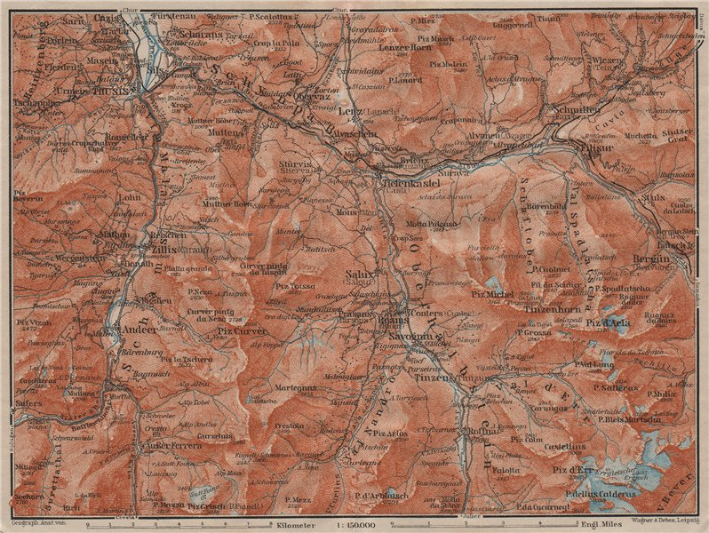 Associate Product ALBULA ALPS. Thusis Tiefenkastel Savognin Piz Ela/d'Err/Calderas Salux 1911 map