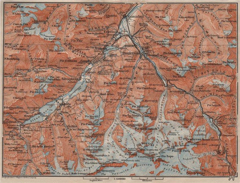 Associate Product UPPER ENGADINE. St Moritz Celerina Pontresina Sils-Maria Bernina Range 1911 map