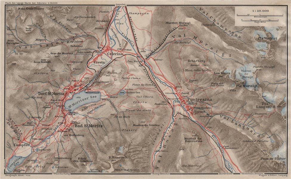 ST MORITZ & PONTRESINA. Celerina Cresta Piz Vadret/Muraigl/Languard 1911 map