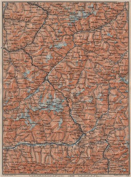 Associate Product ENGADINE/VAL TELLINA. Davos Arosa Sils Bormio Livigno Sondrio Chur 1911 map