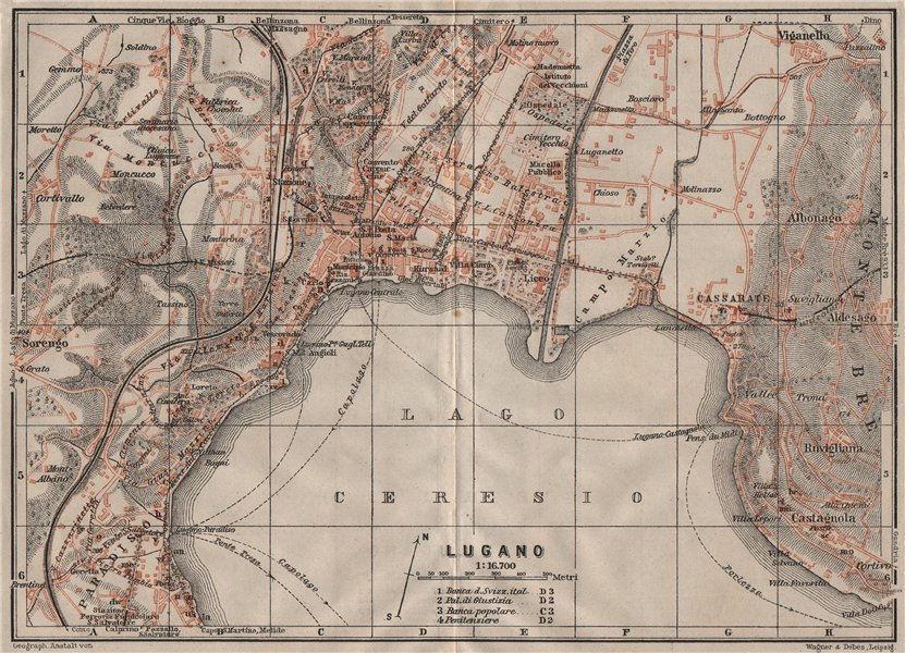 Associate Product LUGANO. town city stadtplan. Switzerland Suisse Schweiz carte karte 1911 map