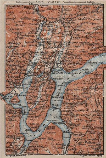 Associate Product LUGANO ENVIRONS. Lake Lago di. Topo-map. Switzerland Suisse Schweiz 1911