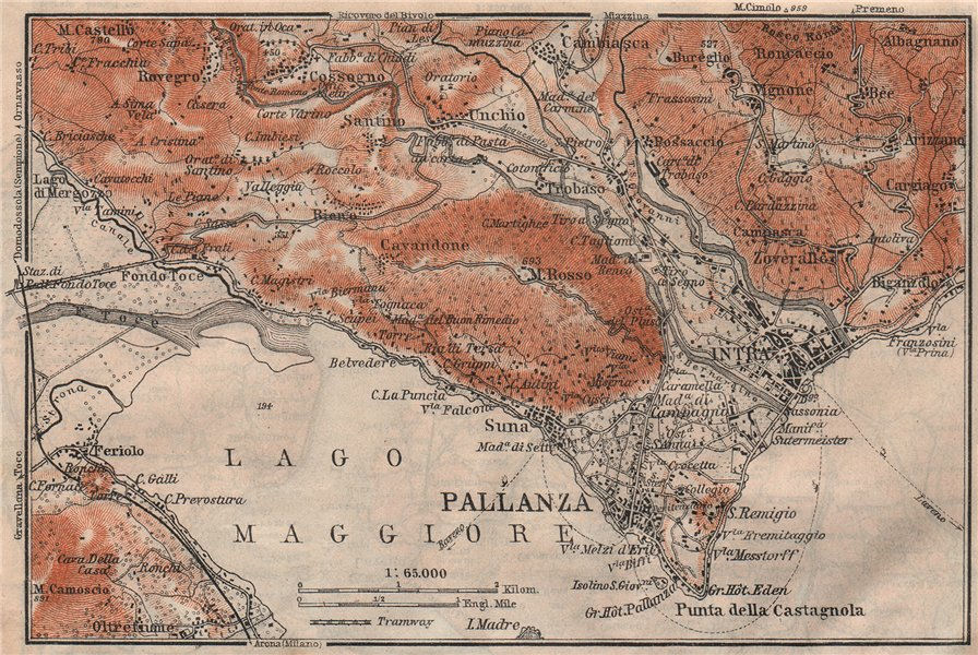 Associate Product PALLANZA ENVIRONS. Verbania. Intra Unchio. Italy mappa. BAEDEKER 1911 old