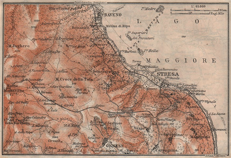 Associate Product STRESA ENVIRONS. Baveno Gignese. Italy mappa. BAEDEKER 1911 old antique