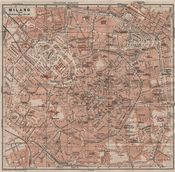 Associate Product MILAN MILANO. town city plan piano urbanistico. Italy mappa. BAEDEKER 1911