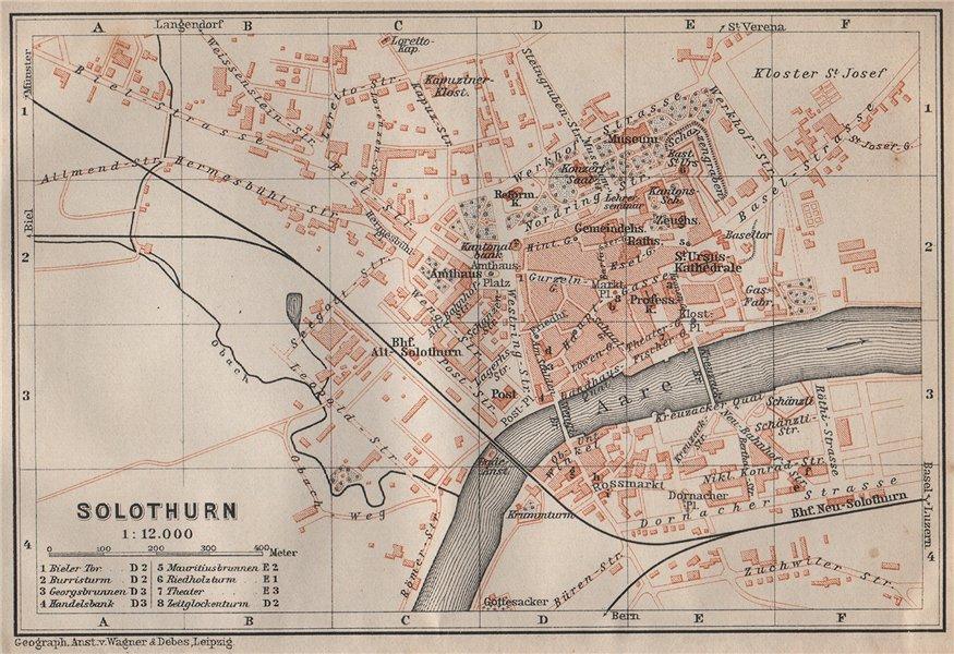 Associate Product SOLEURE / SOLOTHURN. town city stadtplan. Switzerland Suisse Schweiz 1913 map
