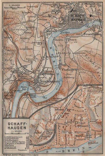 Associate Product SCHAFFHAUSEN environs. Flurlingen Feuerthalen Neuhausen. Schweiz 1913 old map