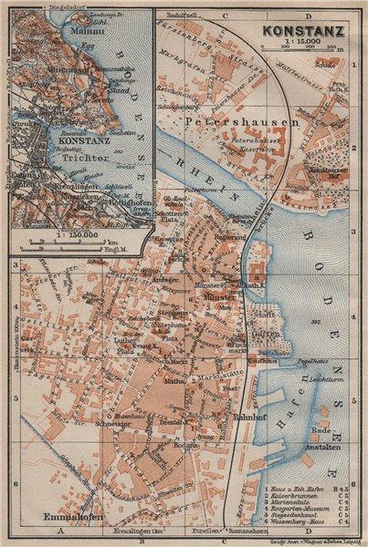 Associate Product CONSTANCE. KONSTANZ. town city stadtplan. Germany karte. BAEDEKER 1913 old map