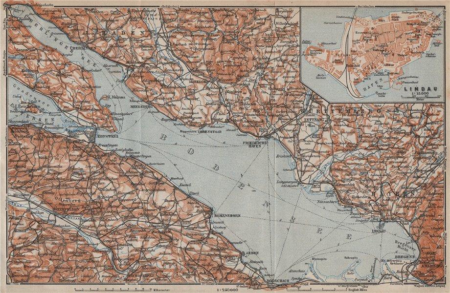 Associate Product LAKE CONSTANCE inset LINDAU. Konstanz St Gallen Bregenz. Topo-map 1913 old
