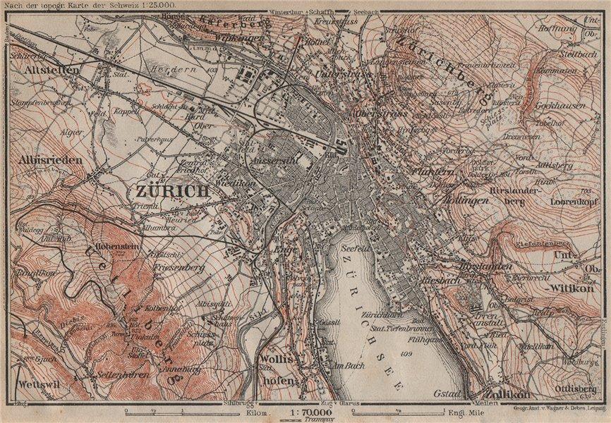 Associate Product ZÜRICH ENVIRONS. Zurich. Switzerland Suisse Schweiz carte karte 1913 old map