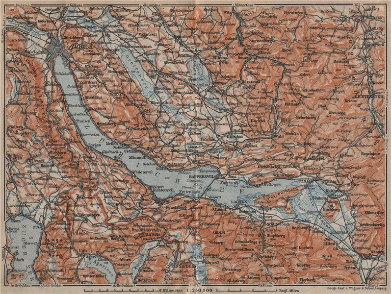 Associate Product LAKE ZÜRICH. Zuricher See Lachen Utznach.Topo-map. Switzerland Schweiz 1913