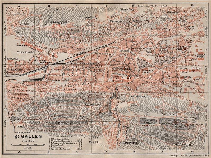 Associate Product ST. GALLEN. town city stadtplan. Switzerland Suisse Schweiz. BAEDEKER 1913 map