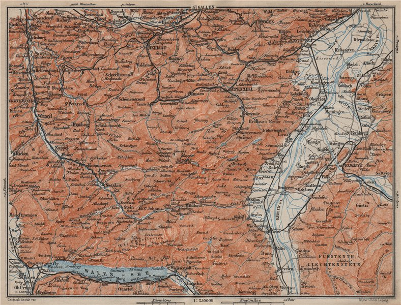 Associate Product APPENZELL CANTON. Wildhaus Unterwasser St. Gallen Trogen Walensee 1913 old map