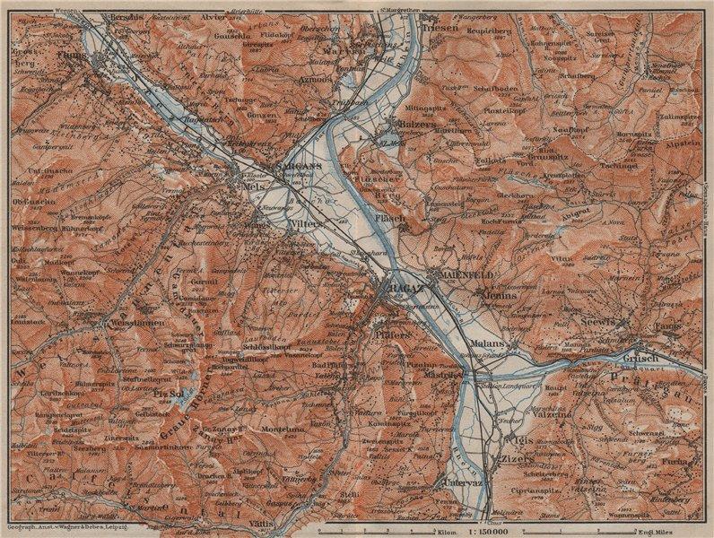 Associate Product BAD RAGAZ. Malbun Flums Wangs Pizol Sargans Grusch Malans Maienfeld 1913 map