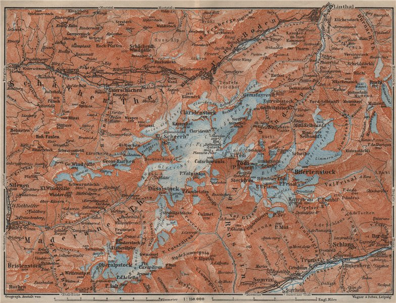 Associate Product TÖDI DISTRICT. Glarus Alps Linththal Bifertenstock Claridenstock 1913 old map