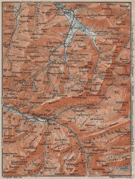 Associate Product MUOTATHAL PRAGEL & SIHLTAL. Silbern Liedernen (Kaiserstock) Iberg 1913 old map