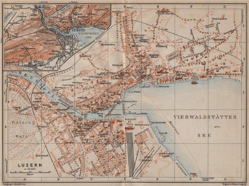 LUCERNE LUZERN. town city stadtplan. Switzerland Suisse Schweiz 1913 old map