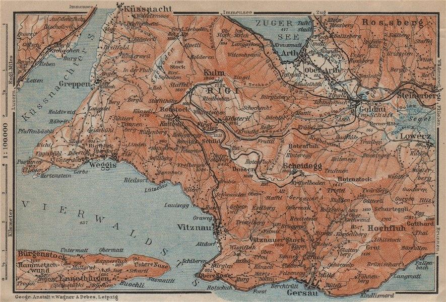 Associate Product THE RIGI. Lowerz Arth Gersau Küssnacht. Topo-map. Switzerland Schweiz 1913