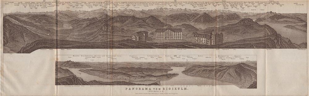 Associate Product PANORAMA from/von RIGIKULM 1800m. Küssnacht. Switzerland Schweiz 1913 old map