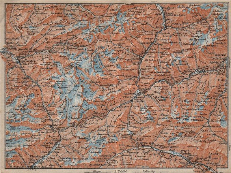 Associate Product ST GOTTHARD area. Andermatt Engelberg Silenen Gadmen Ulrichen Disentis 1913 map