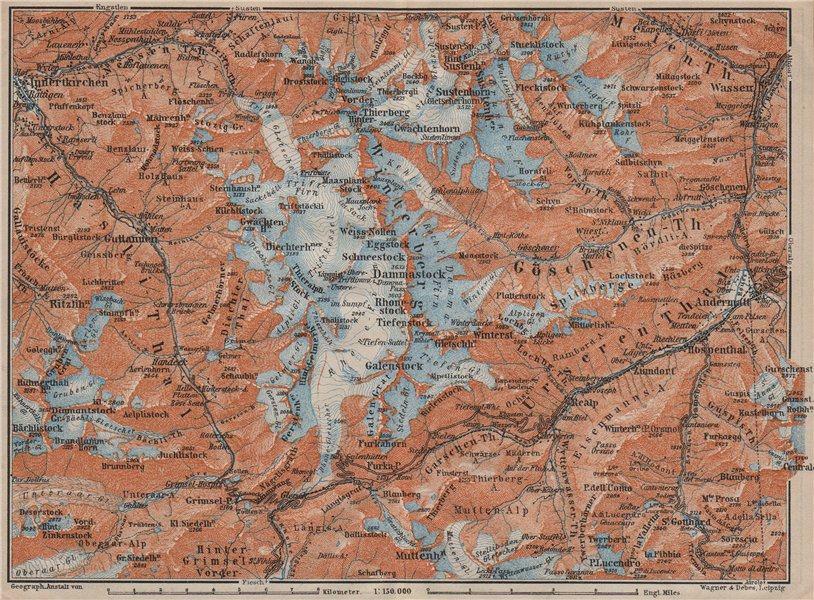 Associate Product URNER/URI ALPS. Trift district. Andermatt Innertkirchen Dammastock 1913 map